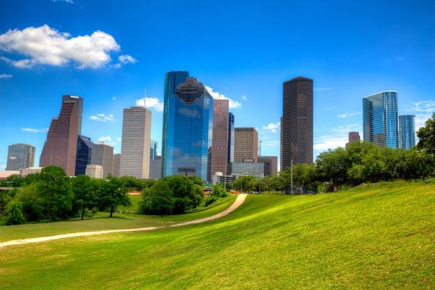 Houston texas skyline moderne skyscapers en blauwe hemel
