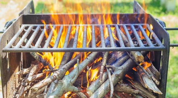 Hout en vuur in kamp in de natuur