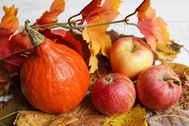 Hout met pompoen, appels en bladeren. herfst kaart.