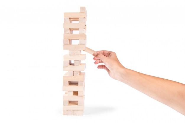 Houtblokken stapelspel
