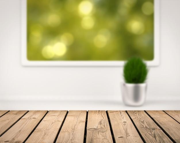 Houten aanrecht met wazig groen uitzicht vanuit raam