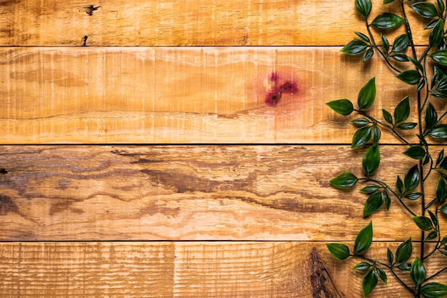 Houten achtergrond met bladeren en kopie ruimte