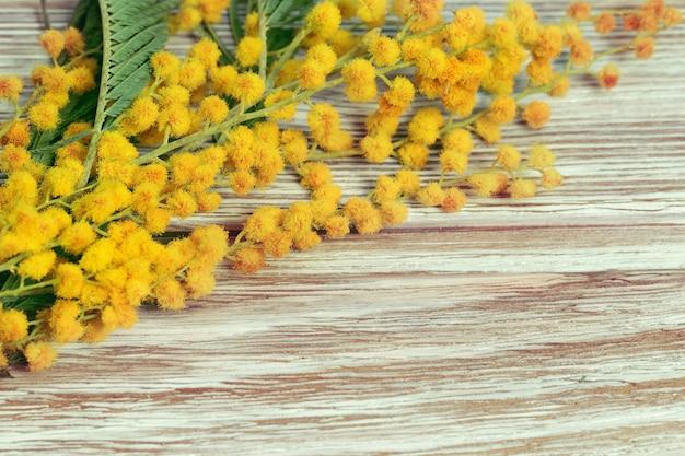 Houten achtergrond met bloemenrand. takjes bloeiende mimosa liggen op houten tafel. bloemrijke achtergrond.