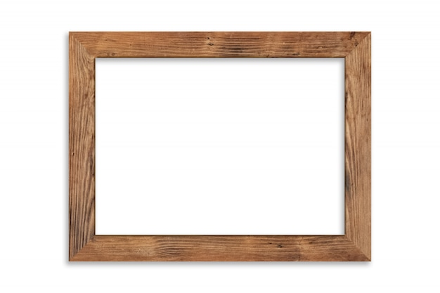 Houten afbeeldingsframe geïsoleerd op een witte achtergrond