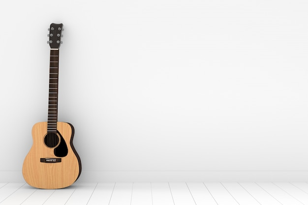 Houten akoestische gitaar in lege witte ruimte in het 3d teruggeven