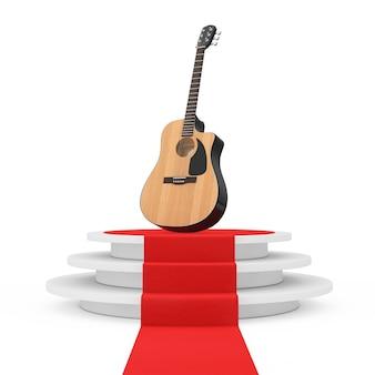 Houten akoestische gitaar over ronde witte sokkel met stappen en een rode loper op een witte achtergrond. 3d-rendering