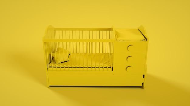 Houten babybedje op geel. 3d-weergave.