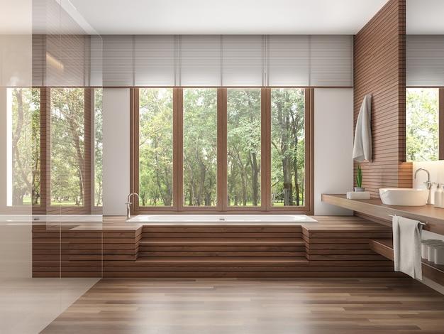 Houten badkamer moderne eigentijdse stijl 3d render. versier muur en vloer met hout. er zijn grote ramen die uitkijken om de natuur te zien