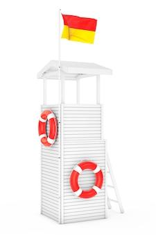 Houten badmeester toren op een witte achtergrond. 3d-rendering