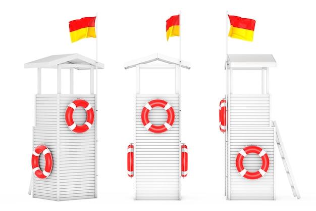 Houten badmeester torens op een witte achtergrond. 3d-rendering