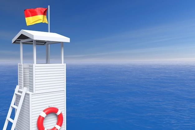 Houten badmeestertoren voor oceaanachtergrond. 3d-rendering