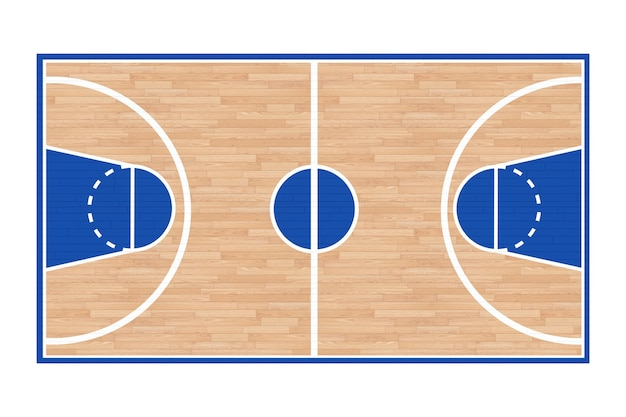 Houten basketbalveld vloer met lijnen op een witte achtergrond. 3d-rendering