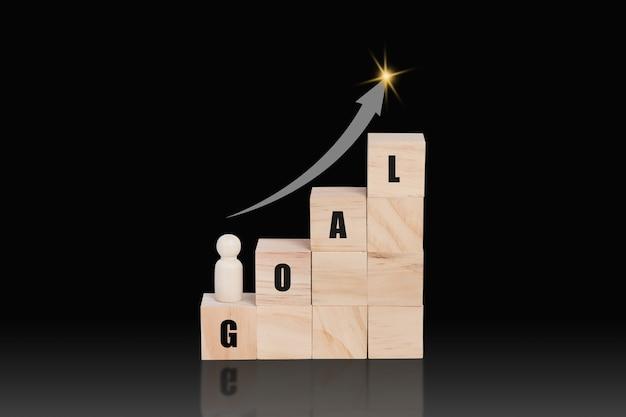 Houten blok stapelen als een groei bovenop met woord doel en pijl omhoog. bedrijfsgroeiconcept.