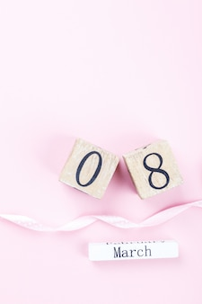Houten blokkalender international van 8 maart womens day