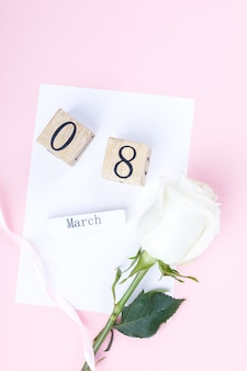 Houten blokkalender international van 8 maart womens day