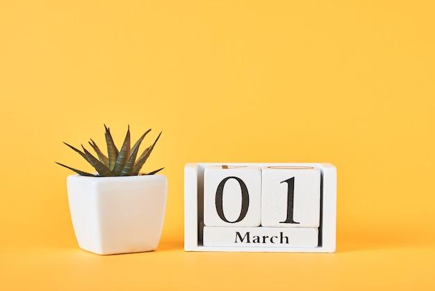 Houten blokkalender met datum 1 maart en plant op gele achtergrond