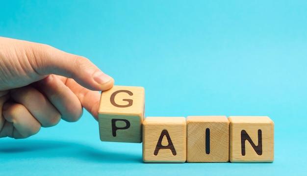 Houten blokken met de woorden gain and pain