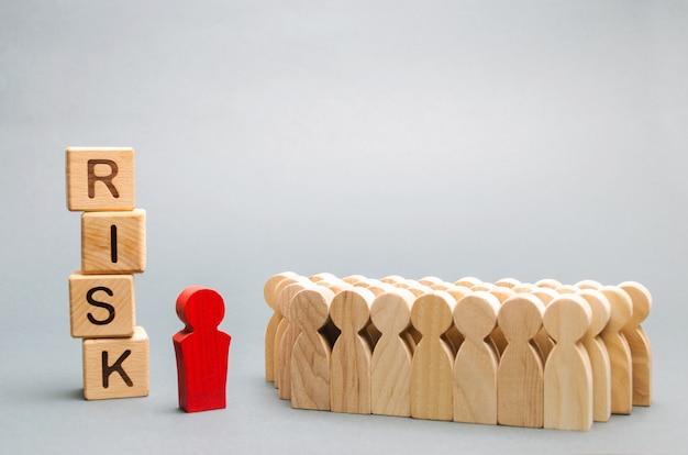 Houten blokken met het woord risk