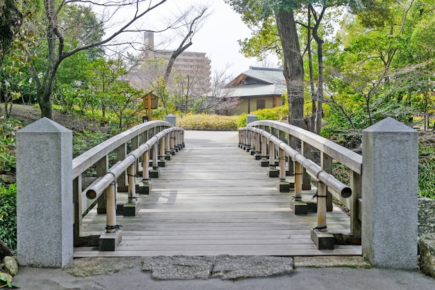 Houten brug in een natuurlijke omgeving