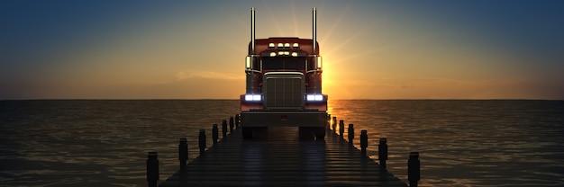 Houten brug in een zonsondergang met vrachtwagen 3d-rendering