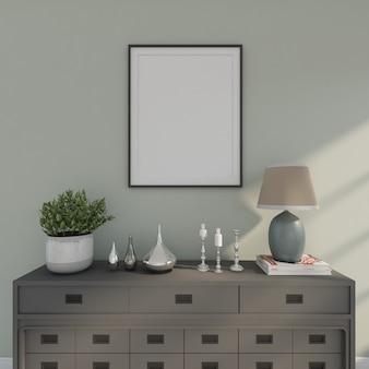 Houten bureau met fotolijst en boompje. 3d-weergave
