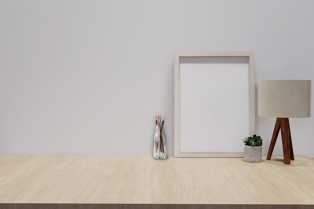 Houten bureau met fotolijst en minimale ronde vaas met een decoratief takje tegen een witte muur. 3d-weergave.