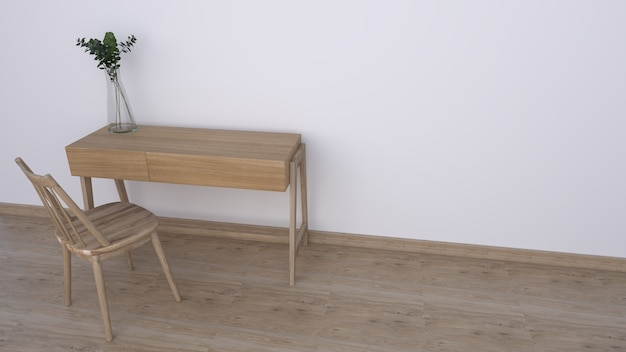 Houten bureau met witte muur voor kantoorideeën