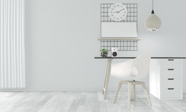 Houten comfortabel kantoor en decoratie op witte kamer zen stijl. 3d-weergave