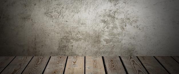 Houten dek tafel op een grijze grunge achtergrond.