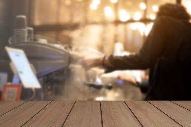 Houten display tafel coffeeshop scene concept van het weergeven van producten in de kamer