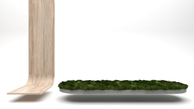 Houten displaystandaard en productvitrinestandaard voor betonproducten op een grasoppervlak op een witte achtergrond