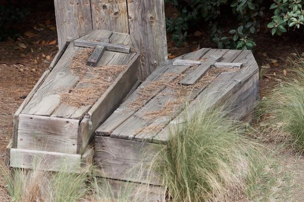 Houten doodskisten op de grond bedekt met vegetatie in halloween