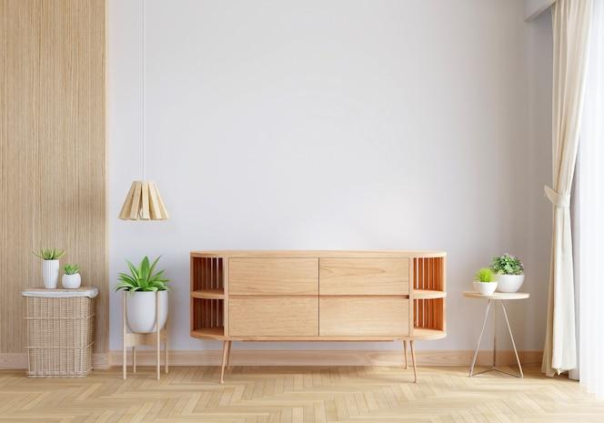 Houten dressoir in woonkamer interieur met kopieerruimte