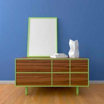Houten dressoir met groene lijst en fotolijstmodel, witte vaas, boeken, houten vloer, blauwe muur, in kamer of slaapkamer. 3d render. interieur