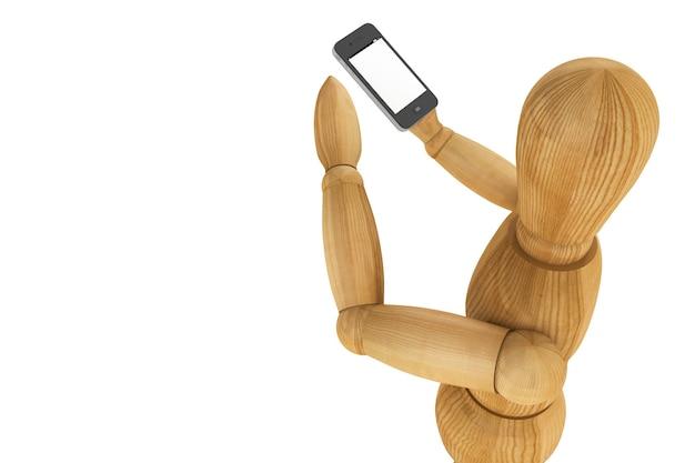 Houten dummy met mobiele smartphone op een witte achtergrond