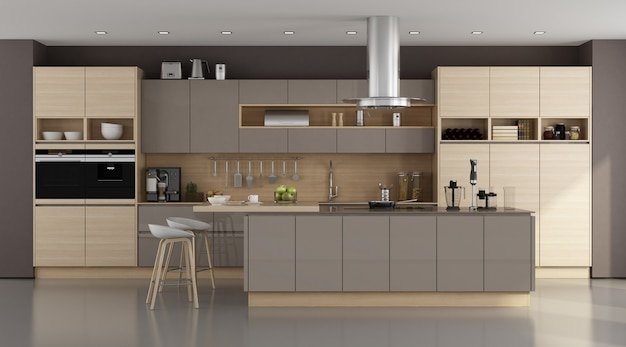 Houten en bruine moderne keuken
