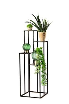 Houten en metalen standaard voor bloemen, woondecoratie