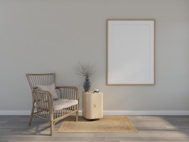 Houten fauteuil met fotolijst. 3d-weergave