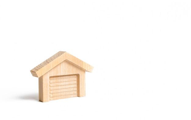 Houten figuur van een garage of magazijn
