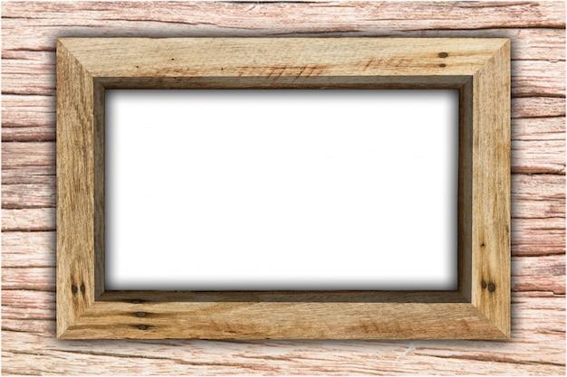 Houten frame dat op witte achtergrond wordt geïsoleerd.