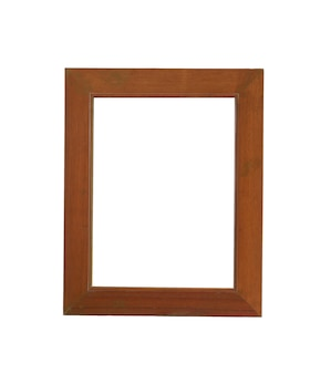 Houten frame foto geïsoleerd op wit en hebben uitknippaden.