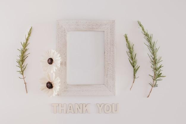 Houten frame met dank u bericht