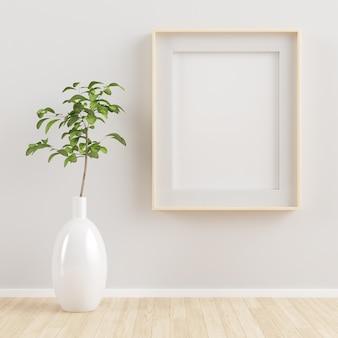 Houten frame mock up 3d-rendering