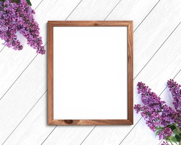 Houten frame mockup op een geschilderde witte achtergrond