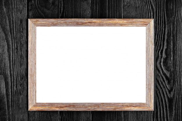 Houten frame of fotolijst geïsoleerd op zwart