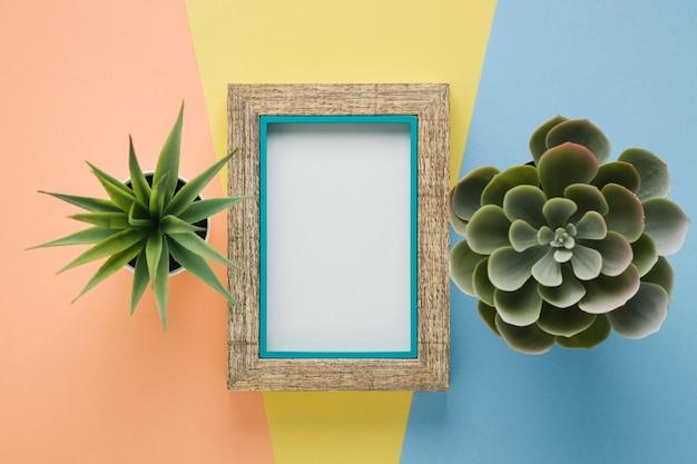 Houten frame omgeven door planten