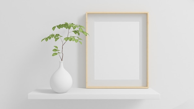 Houten frame op een plank met plant minimale mock up 3d-rendering