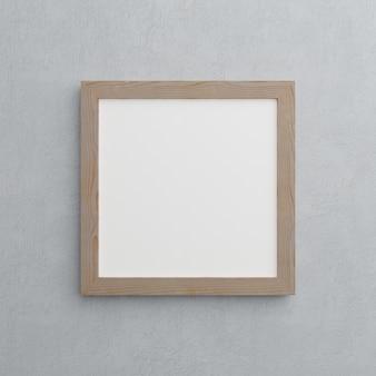 Houten frame op grijze muur achtergrond