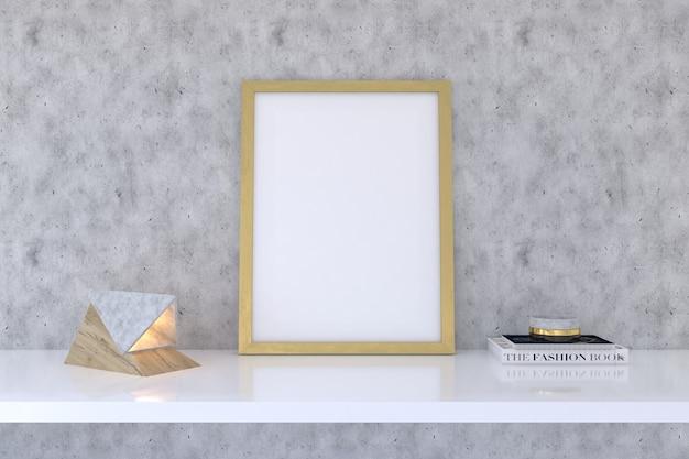 Houten framemodel met decor op plank