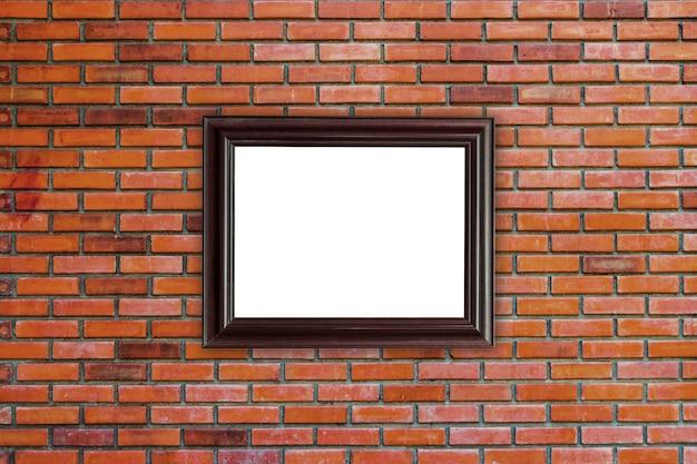 Houten frames foto op rode bakstenen muur